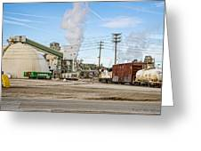 The Borax Plant And Locomotive Greeting Card