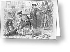 The Boston Massacre, March 5th 1770, Engraved By A. Bollett Engraving B&w Photo Greeting Card