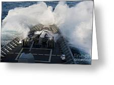 The Bow Of Uss Cowpens Plows Greeting Card