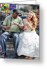 The Bride Plays The Trumpet- Destination Wedding New Orleans Greeting Card