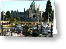 The British Columbia Capitol And Marina Greeting Card