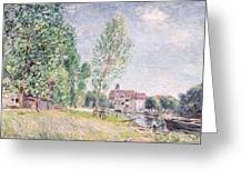 The Builder's Yard At Matrat Moret-sur-loing Greeting Card by Alfred Sisley
