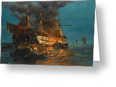 The Burning Of A Turkish Frigate Greeting Card