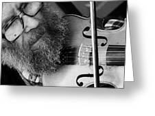 The Busker Greeting Card by Stephen Norris