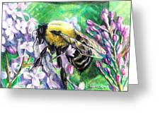The Busy Bee And The Lilac Tree Greeting Card