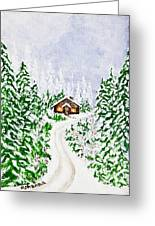 The Cabin Greeting Card by Judy M Watts-Rohanna