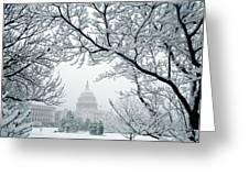 The Capitol In Snow Greeting Card