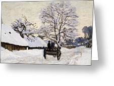 The Carriage- The Road To Honfleur Under Snow Greeting Card