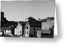 The Castle Above The Village Panorama In Black Nd White Greeting Card
