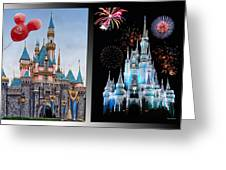 The Castles Of Disney 2 Panel Vertical Greeting Card