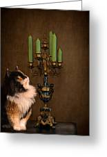 The Cat And The Candelabra Greeting Card