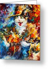 The Cat And The Guitar Greeting Card