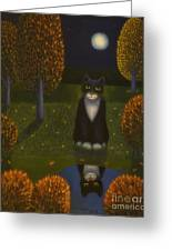 The Cat And The Moon Greeting Card
