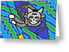 The Cat Rescuer Greeting Card by Anita Dale Livaditis