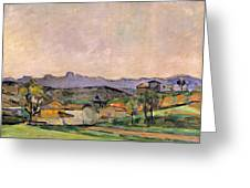 The Chaine De Letoile With The Pilon Du Greeting Card by Paul Cezanne
