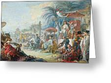 The Chinese Fair, C.1742 Oil On Canvas Greeting Card