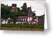 The Church And Heimburg In Niederheimsbach Am Rhein Greeting Card