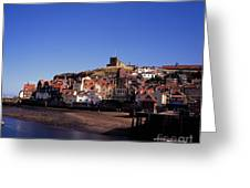The Church Of St Mary's And Whitby Abbey North Yorkshire England Greeting Card