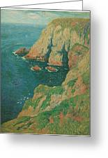 The Cliffs Of Stang Ile De Croix Greeting Card by Henry Moret