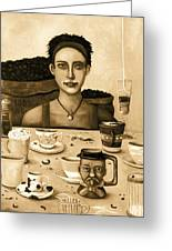 The Coffee Addict In Sepia Greeting Card