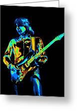 The Colorful Sound Of Mick Playing Guitar Greeting Card