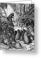 The Council Held By The Rats Greeting Card by Gustave Dore