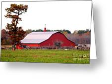 The Country Red Barn Greeting Card