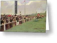 The Course At Longchamps Greeting Card by Jean Beraud