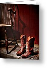 The Cowgirl Boots And The Old Chair Greeting Card