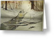 The Creek In Winter Greeting Card