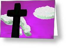 The Cross On Purple Greeting Card