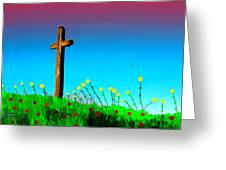 The Crossn The Field Greeting Card
