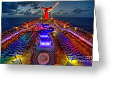 The Cruise Lights At Night Greeting Card