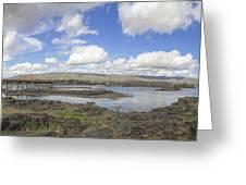 The Dalles Dam And Bridge Across Columbia River Greeting Card