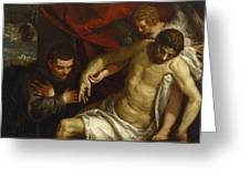 The Dead Christ Supported By An Angel And Adored By A Franciscan Greeting Card