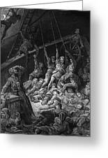 The Dead Sailors Rise Up And Start To Work The Ropes Of The Ship So That It Begins To Move Greeting Card