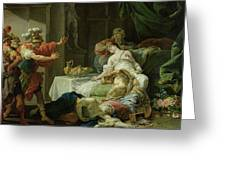 The Death Of Cleopatra, 1755 Oil On Canvas Greeting Card