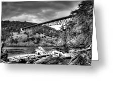 The Deception Pass Bridge II Bw Greeting Card