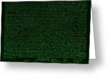 The Declaration Of Independence In Negative Green Greeting Card by Rob Hans