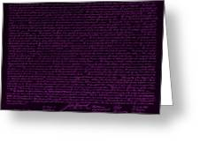 The Declaration Of Independence In Negative Purple Greeting Card