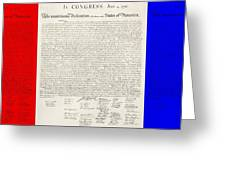 The Declaration Of Independence In Red White And Blue Greeting Card by Rob Hans