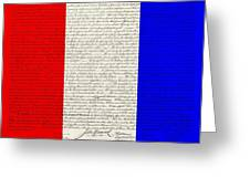 The Declaration Of Independence In Red White Blue Greeting Card by Rob Hans