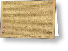 The Declaration Of Independence In Sepia Greeting Card