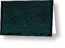 The Declaration Of Independence In Turquoise Greeting Card