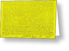 The Declaration Of Independence In Yellow Greeting Card