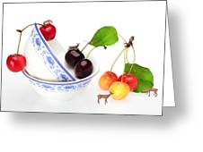 The Deers Among Cherries And Blue-and-white China Miniature Art Greeting Card