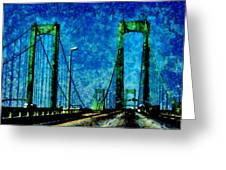 The Delaware Memorial Bridge Greeting Card by Angelina Vick