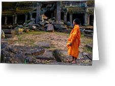 The Destruction Of Ta Prohm Greeting Card by Pete Reynolds