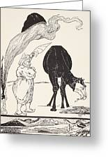 The Djinn In Charge Of All Deserts Guiding The Magic With His Magic Fan Greeting Card by Joseph Rudyard Kipling