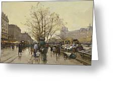 The Docks Of Paris Les Quais A Paris Greeting Card by Eugene Galien-Laloue